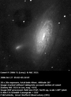 Image of Comet Levy P2006T1 and NGC 3521 - Coutesy NASA